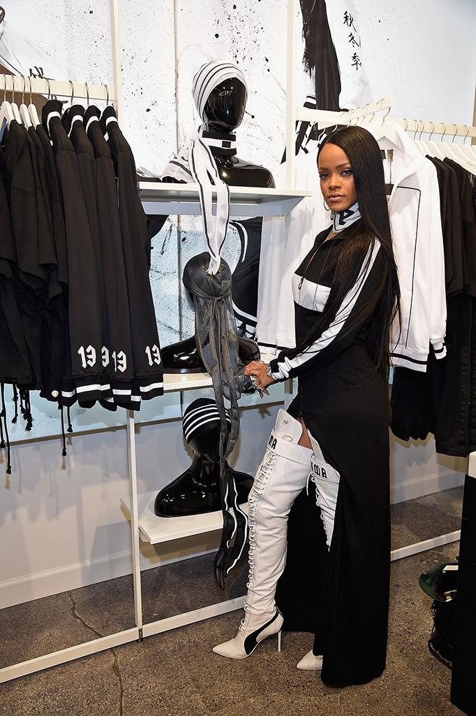 NEW YORK, NY - SEPTEMBER 06: Rihanna celebrates the opening of the FENTY PUMA by Rihanna pop-up shops powered by SIX:02 on September 6, 2016 in New York City. (Photo by Kevin Mazur/Getty Images for FENTY PUMA by Rihanna)