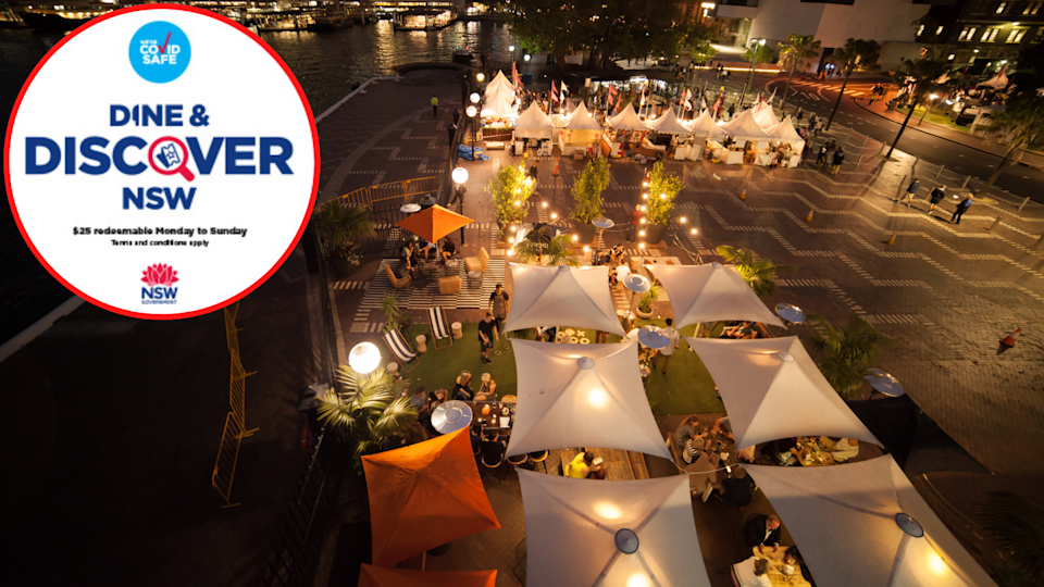 Alfresco dining in Sydney and the NSW Dine & Discover logo.