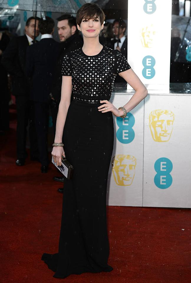 Anne Hathaway attends the EE British Academy Film Awards at The Royal Opera House on February 10, 2013 in London, England.  (Photo by Ian Gavan/Getty Images)