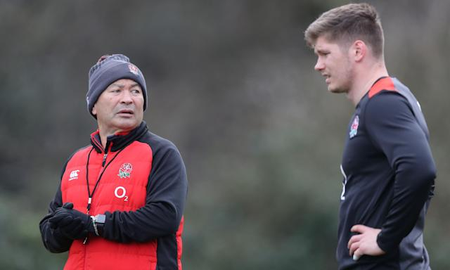 Eddie Jones (left) has made Owen Farrell his captain for England's crucial Six Nations game in France, where Dylan Hartley and Mike Brown are missing for differing reasons.