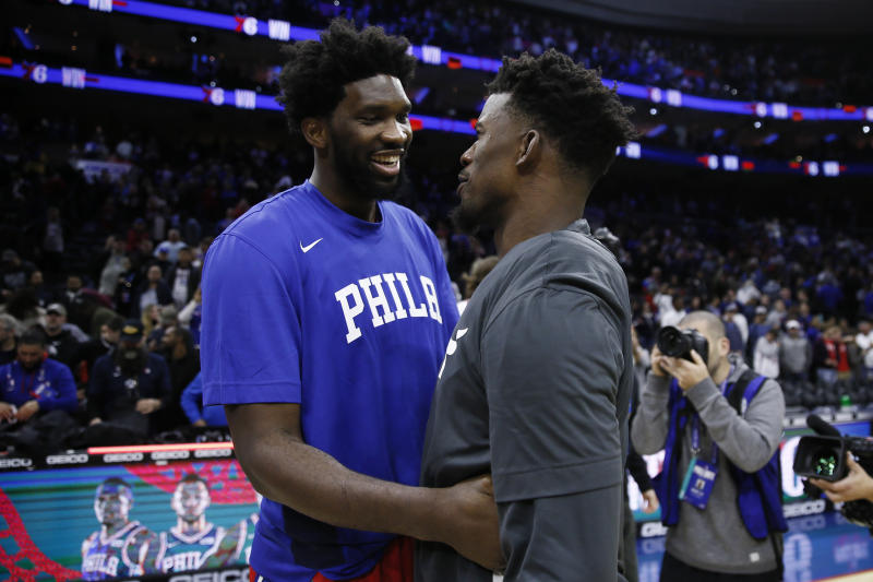 Jimmy Butler took a shot at capitalizing on discord in Philadelphia. (AP Photo/Matt Slocum)