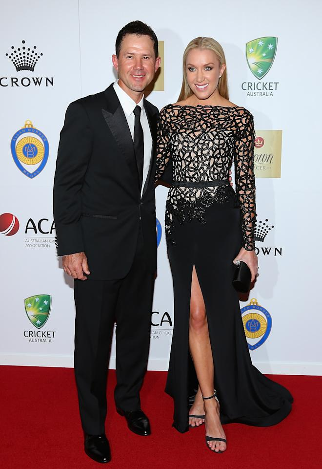 MELBOURNE, AUSTRALIA - FEBRUARY 04:  Ricky Ponting of Australia and his wife Rianna Ponting arrive at the 2013 Allan Border Medal awards ceremony at Crown Palladium on February 4, 2013 in Melbourne, Australia.  (Photo by Quinn Rooney/Getty Images)
