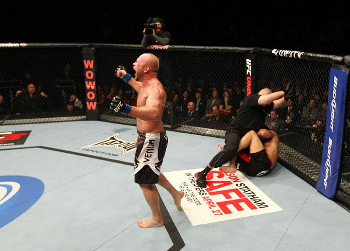 SAITAMA, JAPAN - FEBRUARY 26: Tim Boetsch reacts after knocking out Yushin Okami during the UFC 144 event at Saitama Super Arena on February 26, 2012 in Saitama, Japan.