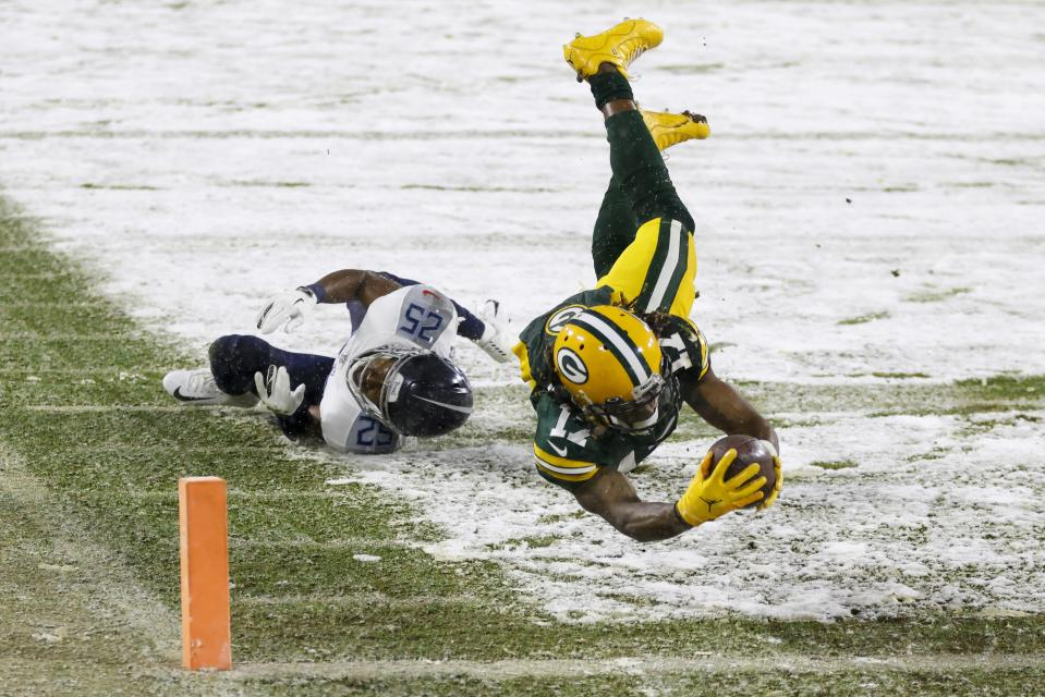 Green Bay Packers wide receiver Davante Adams had a huge season. (AP Photo/Matt Ludtke)