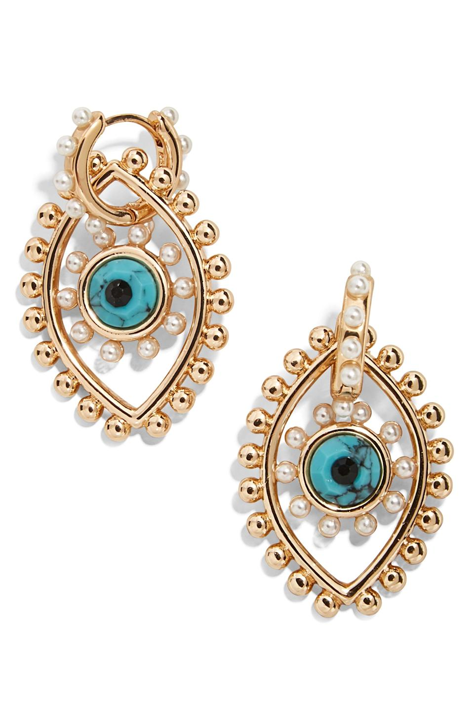 """<p><strong>BAUBLEBAR</strong></p><p>nordstrom.com</p><p><strong>$22.80</strong></p><p><a href=""""https://go.redirectingat.com?id=74968X1596630&url=https%3A%2F%2Fwww.nordstrom.com%2Fs%2Fbaublebar-panon-evil-eye-drop-earrings%2F5485477&sref=https%3A%2F%2Fwww.elle.com%2Ffashion%2Fshopping%2Fg34741930%2Fnordstrom-12-days-of-cyber-savings-sale%2F"""" rel=""""nofollow noopener"""" target=""""_blank"""" data-ylk=""""slk:Shop Now"""" class=""""link rapid-noclick-resp"""">Shop Now</a></p>"""