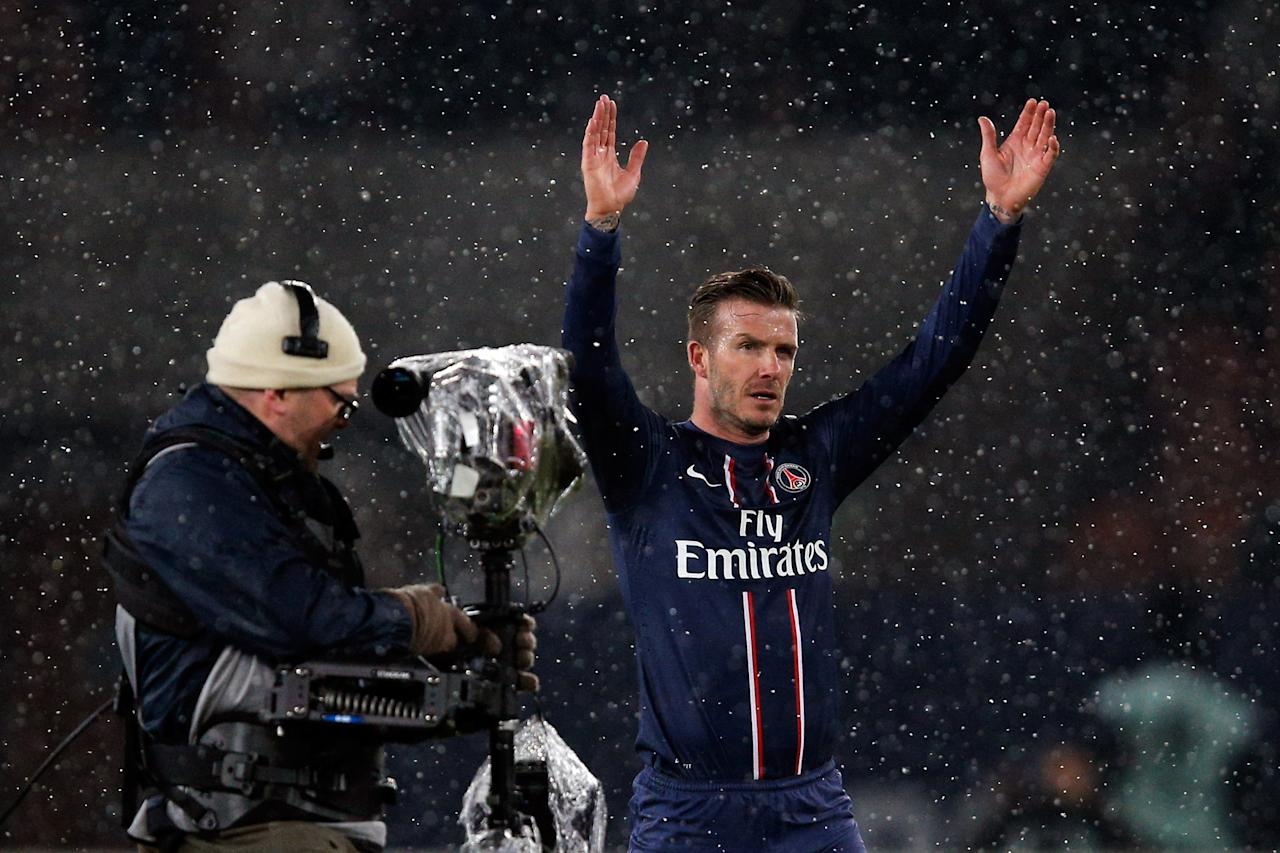 PARIS, FRANCE - FEBRUARY 24:  David Beckham of PSG thanks the fans after victory in the Ligue 1 match between Paris Saint-Germain FC and Olympique de Marseille at Parc des Princes on February 24, 2013 in Paris, France.  (Photo by Dean Mouhtaropoulos/Getty Images)