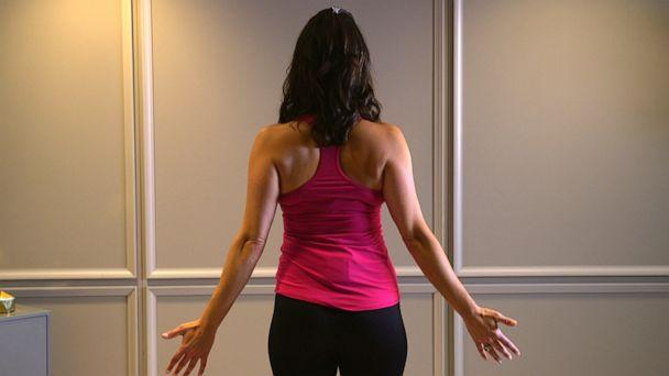 PHOTO: Health and wellness expert Stephanie Mansour shows us how to perform Mountain Pose. (ABC News)