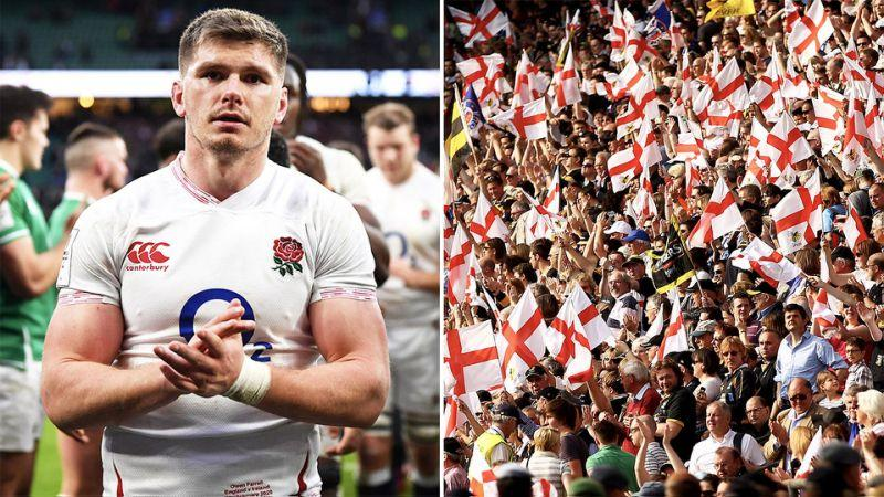 Seen here, Owen Farrell and a section of stadium full of cheering England fans.