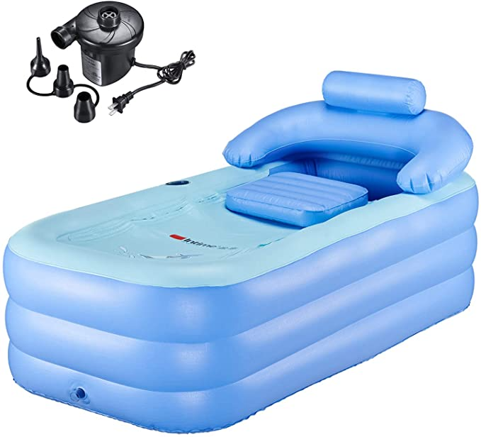 """<h2>WBHome Adult Portable Inflatable Bathtub</h2><br>Although not exactly a hot tub, this personal-sized bathtub is a very cost-effective option and according to over 300 reviewers is sturdy enough for indoor or outdoor use.<br><br><strong>Capacity:</strong> 1 Person<br><strong>Features: </strong>Zipper upper cover, cup holder, backrest, armrest, and inflatable seat cushion.<br><strong>Includes:</strong> Air pump and drainage pipe.<br><br><strong>WBHome</strong> Inflatable Bath Tub, $, available at <a href=""""https://amzn.to/3BnKUeu"""" rel=""""nofollow noopener"""" target=""""_blank"""" data-ylk=""""slk:Amazon"""" class=""""link rapid-noclick-resp"""">Amazon</a>"""