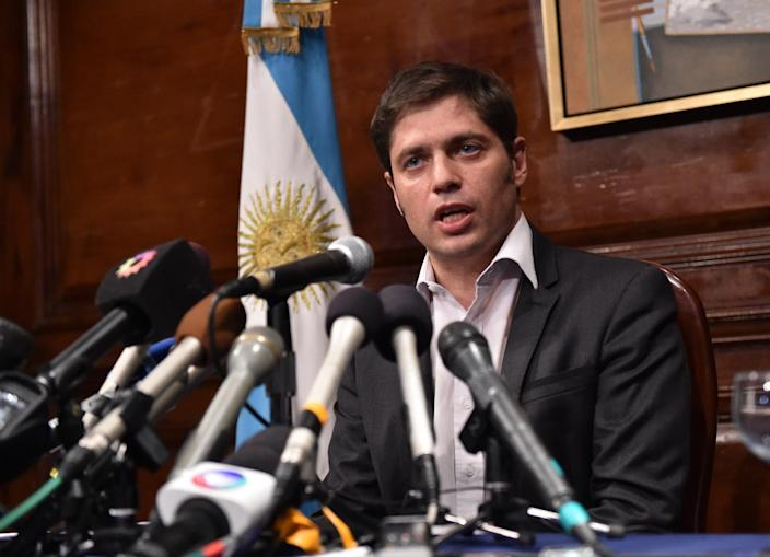 Argentina's Economy Minister Axel Kicillof speaks during a press conference at the Argentina Consulate in New York, on July 30, 2014 (AFP Photo/Stan Honda)
