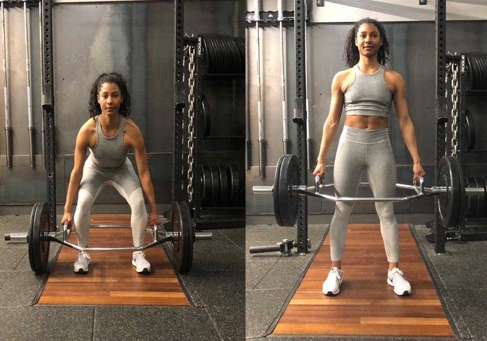 <ul> <li>Load the hex bar with the weight of your choice. If you're new to the move, start by just using the bar without any additional weight.</li> <li>Stand in the center of the hex bar with your feet hip width apart.</li> <li>Bend at your hips and knees as you grab the handles of the hex bar. Raise your hips up slightly, keeping your back flat, to create tension in the back of your legs (your hamstrings will feel tight).</li> <li>Keeping your back flat and shoulders relaxed, drive your heels through the ground as you stand straight up.</li> <li>Squeeze your glutes at the top of the lift to ensure you get full hip extension.</li> <li>Continue to grasp the handles as you lower the weight to the ground with control. Be sure to keep your chest open and your back flat. This counts as one rep.</li> </ul>