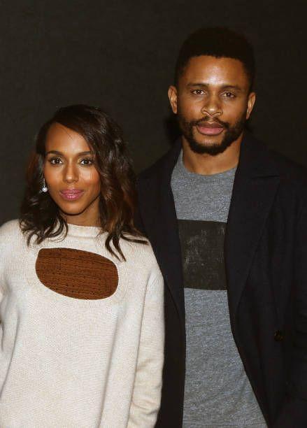 "<p>Washington and athlete Nnamdi Asomugha, who played for the Oakland Raiders, Philadelphia Eagles, and San Francisco 49ers, dated for a year before they wed. They preferred to keep both their romance and wedding out of the spotlight and <a href=""https://www.dailymail.co.uk/tvshowbiz/article-2355159/Scandals-Kerry-Washington-marries-football-star-Nnamdi-Asomughain-secret-wedding.html"" rel=""nofollow noopener"" target=""_blank"" data-ylk=""slk:married in secret"" class=""link rapid-noclick-resp"">married in secret</a> at a friend's house in Idaho in 2013.</p>"