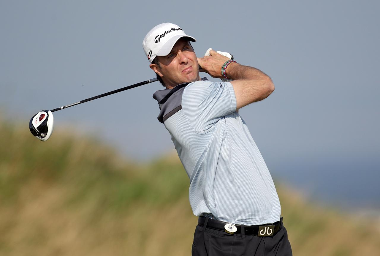 KINGSBARNS, SCOTLAND - SEPTEMBER 28:  Former England cricket captain Michael Vaughan in action during the final practice round of The Alfred Dunhill Links Championship at the Kingsbarns Golf Links on September 28, 2011 in Kingsbarns, Scotland.  (Photo by Ross Kinnaird/Getty Images)