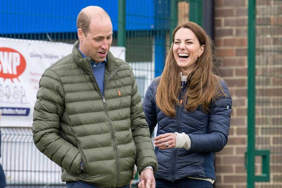 <p>Kate couldn't hide her giggles whilst on the golf course with Prince William during a visit to Durham in April 2021. The pair can often be seen sweetly teasing one another. </p>