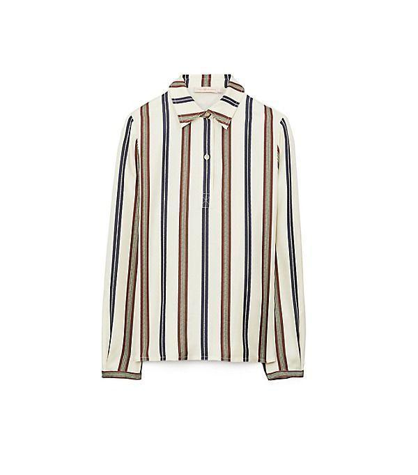 """<p><strong>Tory Burch</strong></p><p>toryburch.com</p><p><strong>$398.00</strong></p><p><a href=""""https://go.redirectingat.com?id=74968X1596630&url=https%3A%2F%2Fwww.toryburch.com%2Fstriped-silk-shirt-%2F73726.html&sref=https%3A%2F%2Fwww.marieclaire.com%2Ffashion%2Fg33324123%2Fsilk-printed-shirts%2F"""" rel=""""nofollow noopener"""" target=""""_blank"""" data-ylk=""""slk:Shop It"""" class=""""link rapid-noclick-resp"""">Shop It</a></p><p>Sport this neutral silk stripe shirt with the matching <a href=""""https://www.toryburch.com/striped-silk-pant/73727.html?color=807"""" rel=""""nofollow noopener"""" target=""""_blank"""" data-ylk=""""slk:pants"""" class=""""link rapid-noclick-resp"""">pants</a> for a pajama ensemble you can get away with in public.</p>"""