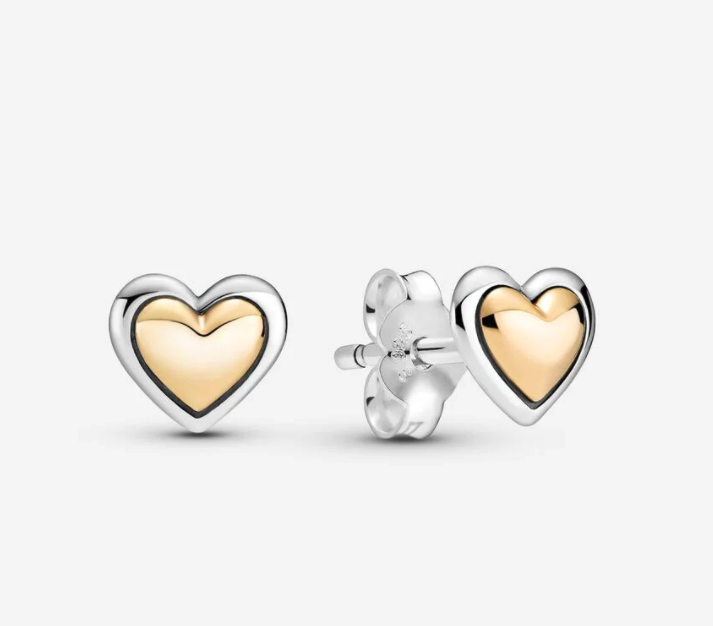 Domed Golden Heart Stud Earrings. Image via Pandora.