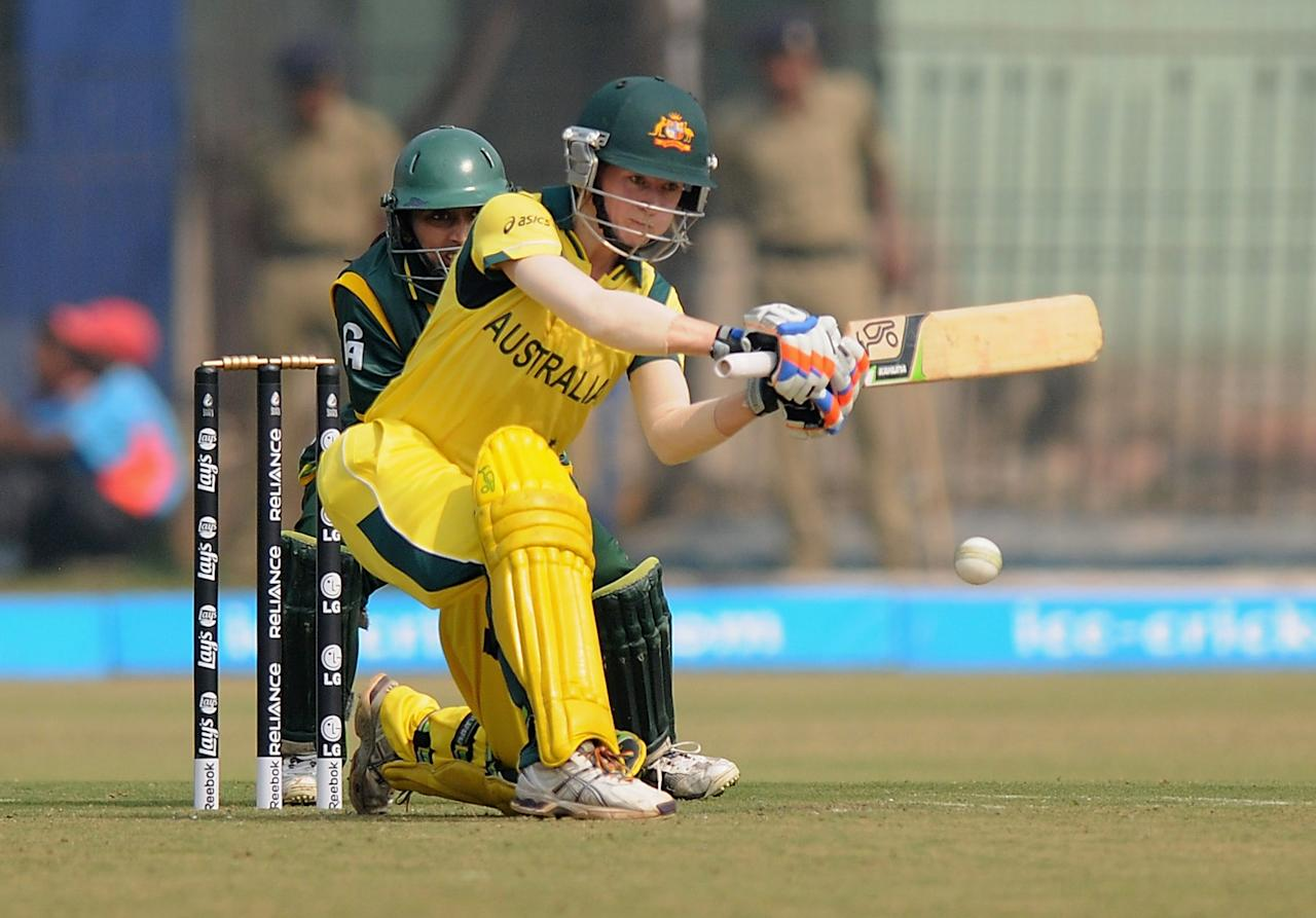 CUTTACK, INDIA - FEBRUARY 01:  Rachael Haynes of Australia bats during the second match of ICC Womens World Cup between Australia and Pakistan, played at the Barabati stadium on February 1, 2013 in Cuttack, India.  (Photo by Pal Pillai-ICC/ICC via Getty Images)