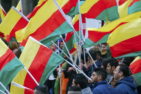 People carry flags during a demonstration organised by Kurds, in Frankfurt, Germany, March 18, 2017.  REUTERS/Ralph Orlowski