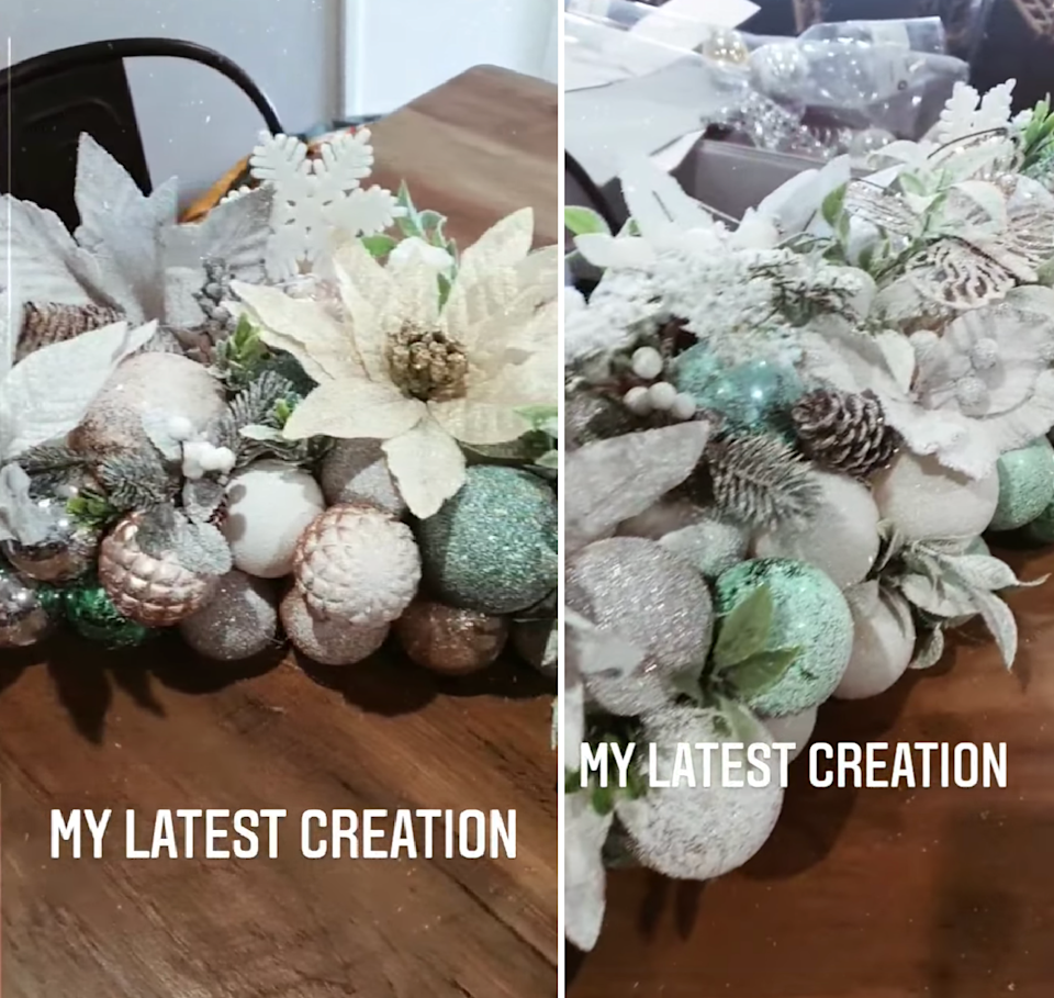 Details on Kmart pool noodle Christmas table centrepiece hack fake flowers, fake snow, baubles