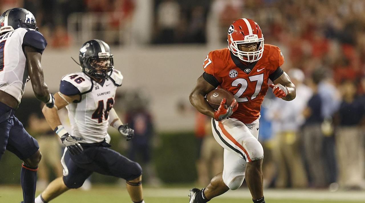 "<p>Georgia welcomes Mississippi State to Sanford Stadium to open SEC play for the first matchup between the schools when both are ranked in the top 25. The two haven't played each other since 2011 when Georgia won 24-10 at home. </p><p>No. 11 Georgia is coming off wins against Appalachian State, Notre Dame and Samford. True freshman quarterback Jake Fromm has gone 34-for-57 for 449 yards, five touchdowns and one interception since he took over the starting job in the team's first game. </p><p>No. 17 Mississippi State is fresh off a 37-7 win over then No. 12 LSU. Quarterback Nick Fitzgerald had four touchdowns, while Aeris Williams rushed for 146 yards on 23 carries in his second straight game with over 100 yards on the ground. </p><p>Both teams are undefeated as they enter what might be the best matchup of the weekend. See how to watch below. </p><p></p><h3>How to Watch</h3><p></p><p><strong>Time: </strong>7 p.m. EST</p><p><strong>TV channel: </strong>ESPN</p><p><strong>Live stream: </strong>Watch live with <a rel=""nofollow"" href=""https://ec.yimg.com/ec?url=http%3a%2f%2fwww.espn.com%2fwatch%2f%26quot%3b%26gt%3bWatch&t=1506276350&sig=yLUi3XTvKWqQbYtVPNalLw--~D ESPN</a>.<strong> </strong></p><p><em><strong>Next Three Games</strong></em></p><p><strong>Georgia: </strong>at Tennessee (9/30), at Vanderbilt (10/7), vs. Missouri (10/14)</p><p><strong>Mississippi State: </strong>at Auburn (9/30), vs. BYU (10/14), vs. Kentucky (10/21)</p><p></p>"