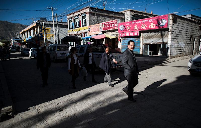 A street in Bayi district of the regional capital Lhasa, in China's Tibet Autonomous Region (AFP Photo/Johannes Eisele)