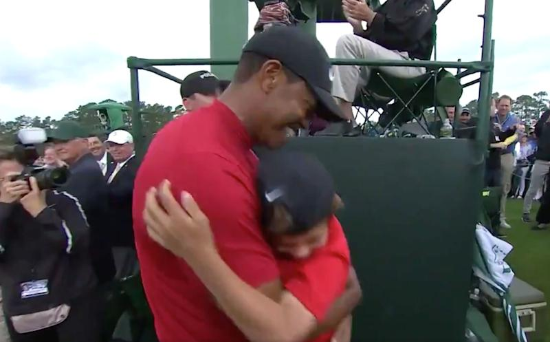 a30b7905 Masters 2019: Watch Tiger Woods' melt-your-heart post-victory hug with his  kids