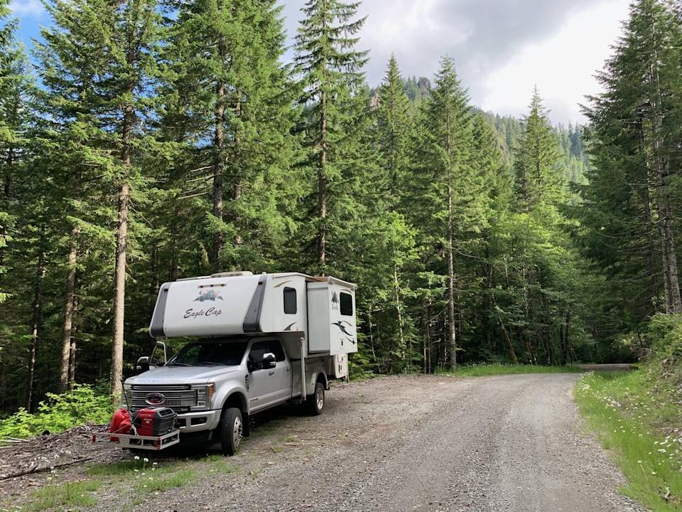 Andrew Pollack and his wife Julie Phillips drove their RV across the U.S. for more than six months before settling down in Oregon, where they are under contract to purchase rural land for a home and possibly a farm.