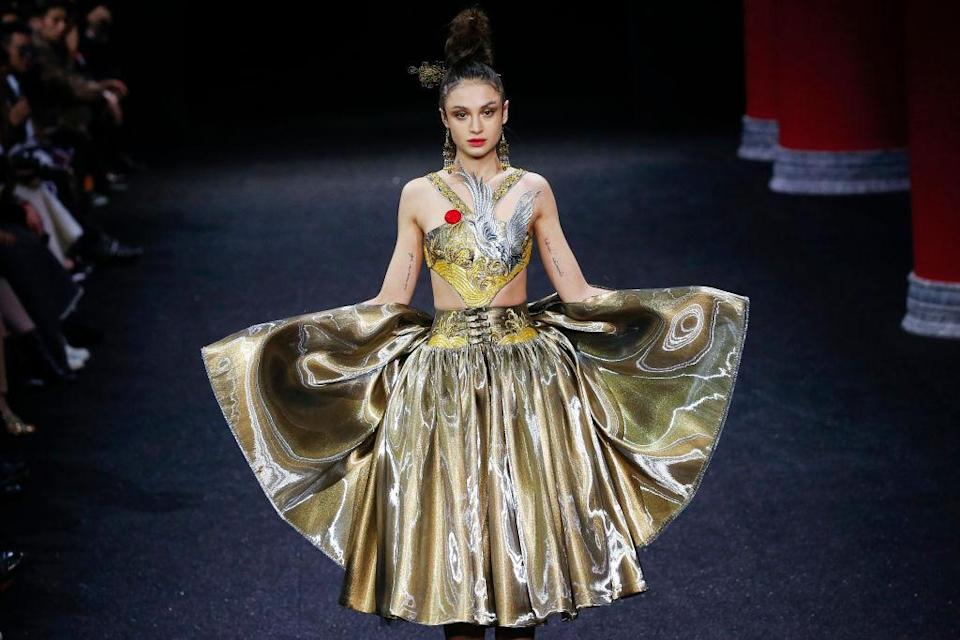 A model walks the runway during the Guo Pei Spring Summer 2019 show as part of Paris Fashion Week on January 23, 2019 in Paris, France.