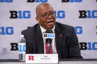 Rutgers women's associate head coach Tim Eatman addresses the media during the first day of the Big Ten NCAA college basketball media days, Thursday, Oct. 7, 2021, in Indianapolis. (AP Photo/Doug McSchooler)