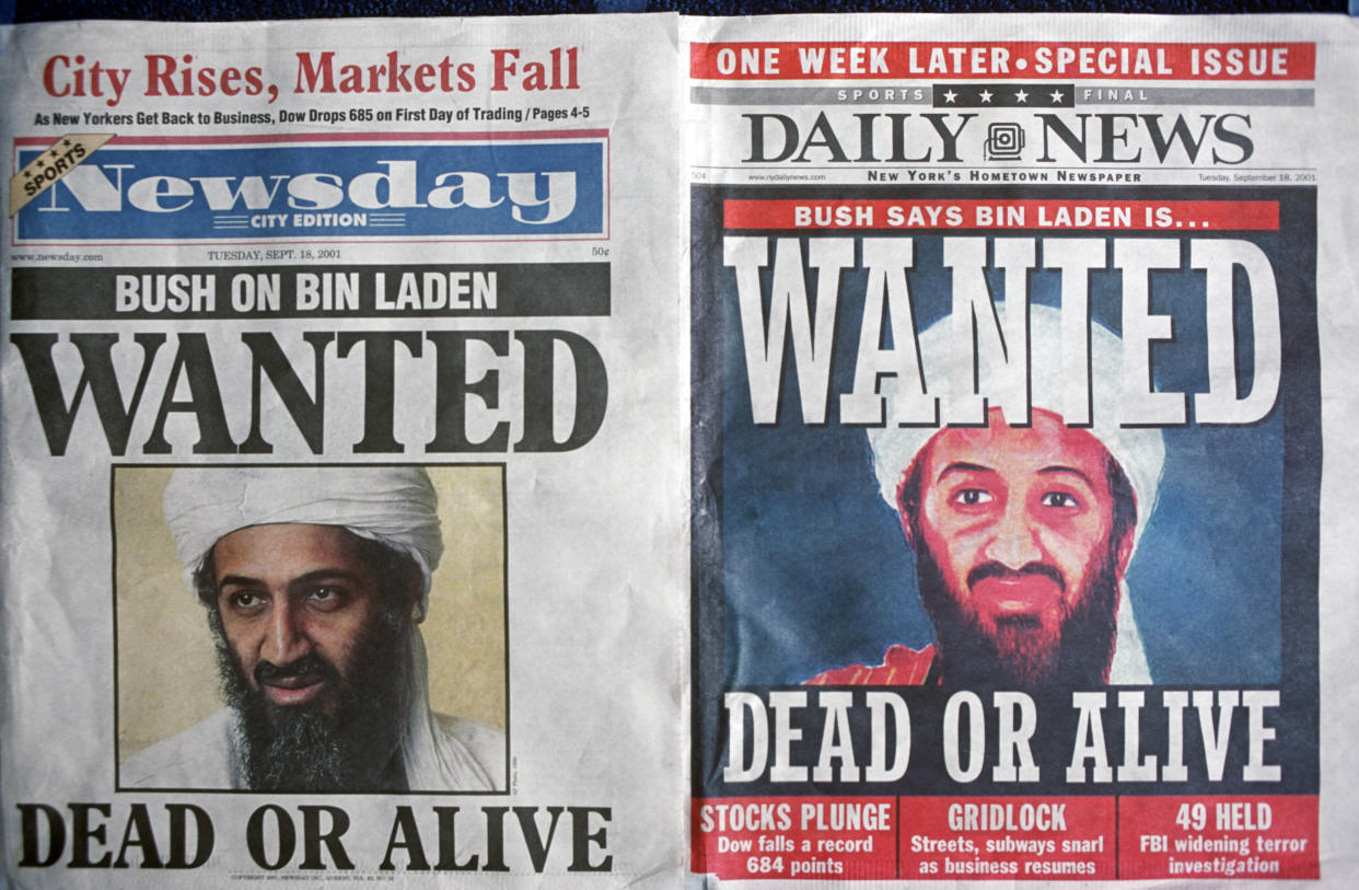 A week after the 9-11 terrorist attack on the Twin Towers and the Pentagon, front pages of Newsday and the New York Daily News with the faces of Osama bin Laden and a cowboy-era outlaw's headline of 'Dead or Alive', on 18th September 2001, New York, USA. (Photo by Richard Baker / In Pictures via Getty Images Images)
