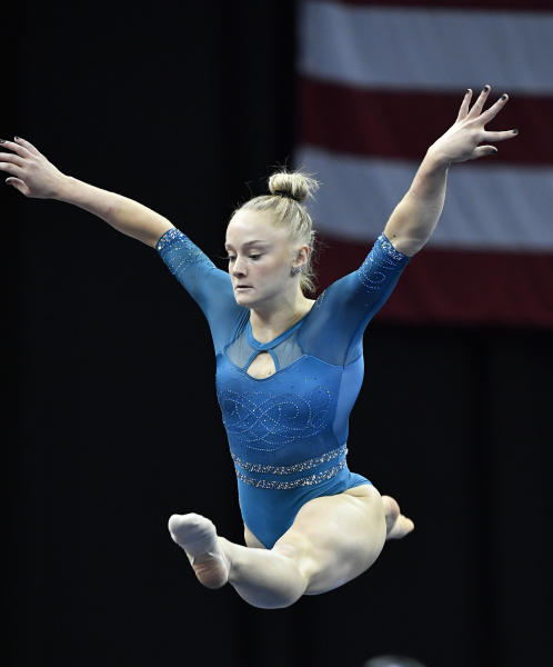 Riley McCusker performs her floor exercise program during the GK US Classic gymnastics meet in Louisville, Ky., Saturday, July 20, 2019. (AP Photo/Timothy D. Easley)