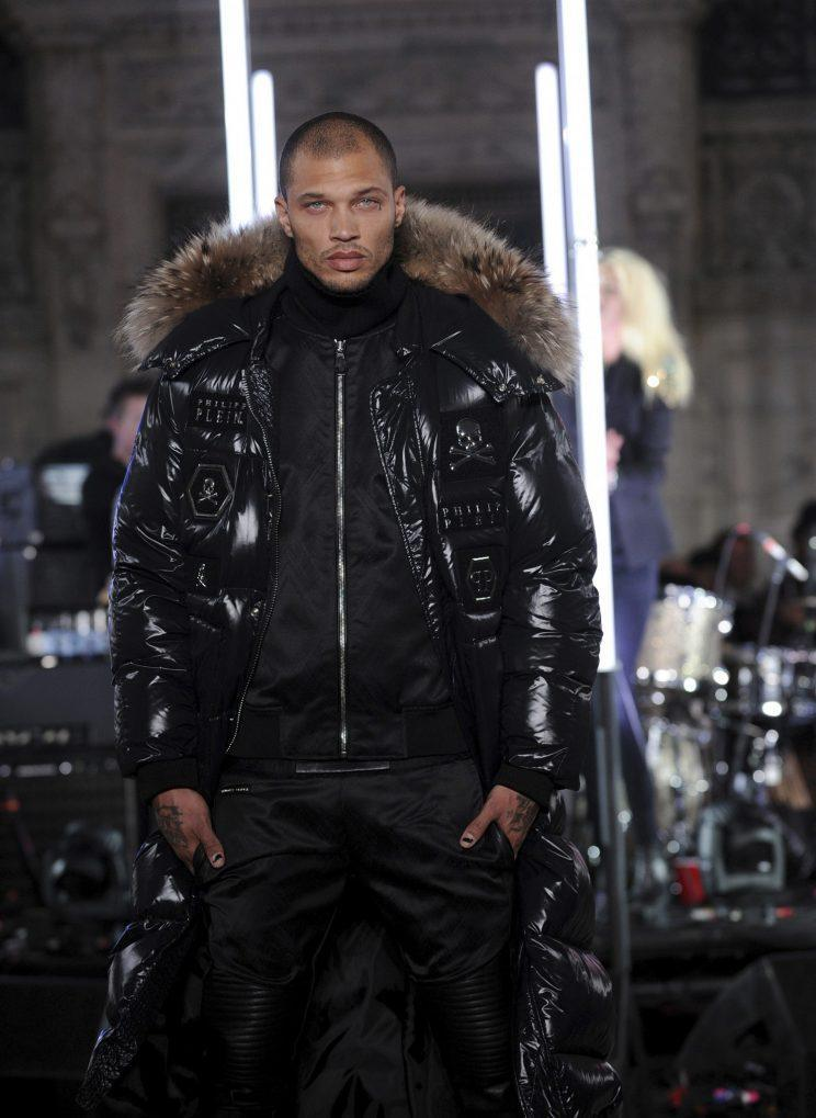 """Jeremy Meeks walks the Philipp Plein runway as part of NYFW Fall/Winter 2017 on Monday, Feb. 13, 2017 in New York. (Photo by Charles Sykes/Invision/AP)<br>Roitfeld posted a photo on Instagram of her and Meeks embracing (Meeks was topless, because, why not?) with the caption, """"My new friend @jmeeksofficial."""""""