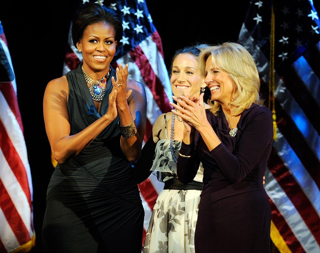 "Sarah Jessica Parker got political Monday, lending her support to First Lady Michelle Obama and her ""partner in crime,"" Jill Biden at a Democratic National Committee fundraiser in New York. SJP was emcee of the night, which raised $1 million for the Democratic party. Stephen Chernin/AP"