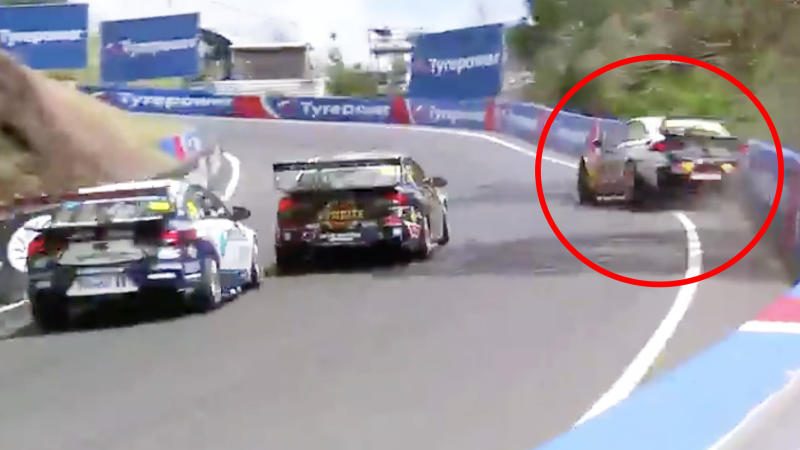 Jamie Whincup is pictured hitting the wall at the Cutting, ending his race at the Bathurst 1000.
