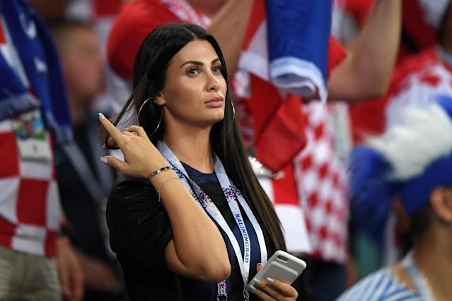 <p>Domagoj Vida of Croatia's wife, Ivana Vida looks on during the 2018 FIFA World Cup Russia Quarter Final match between Russia and Croatia at Fisht Stadium on July 7, 2018 in Sochi, Russia. (Photo by Shaun Botterill/Getty Images) </p>
