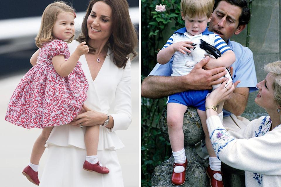 <p>Princess Charlotte wore what appeared to be Prince Harry's decades-old red buckled shoes during the Cambridges' Royal visit to Poland and Germany in 2017. <br></p>