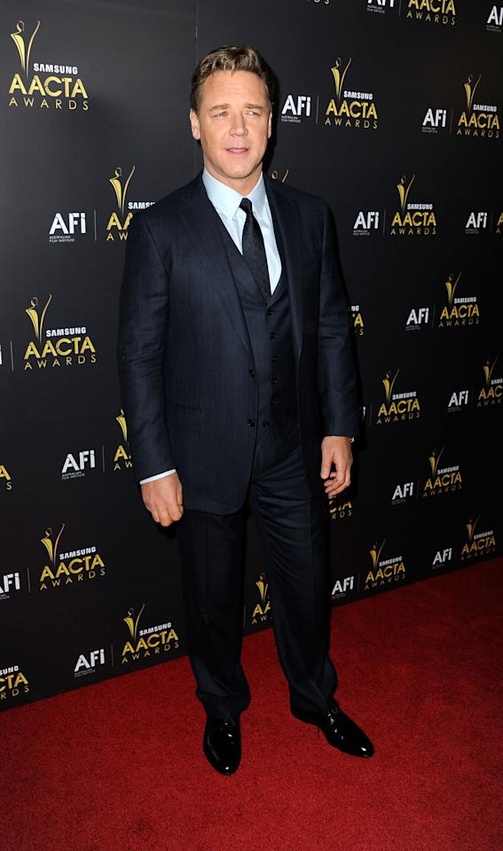 WEST HOLLYWOOD, CA - JANUARY 27:  Actor Russell Crowe arrives at the Australian Academy Of Cinema And Television Arts' 1st Annual Awards at Soho House on January 27, 2012 in West Hollywood, California.  (Photo by Frazer Harrison/Getty Images)