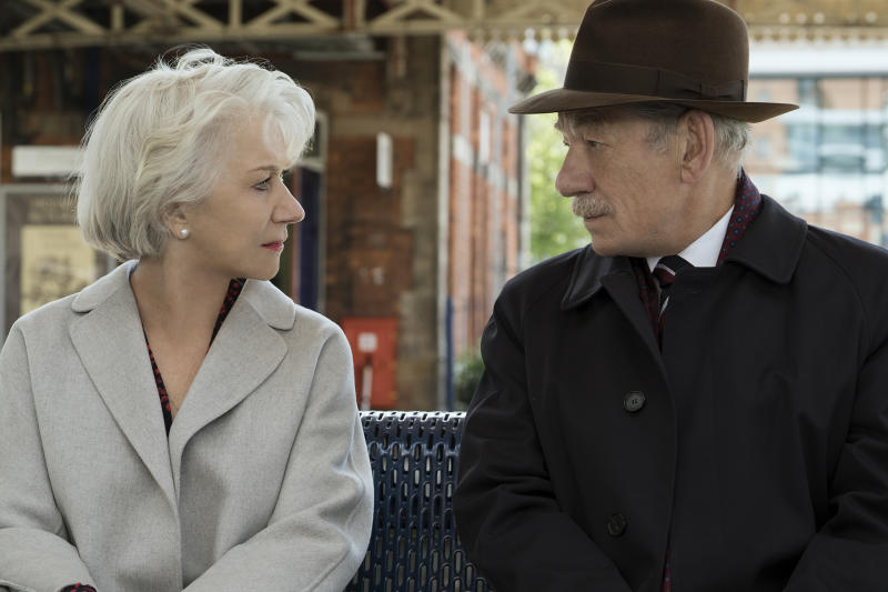 "This image released by Warner Bros. Pictures shows Ian McKellen, right, and Helen Mirren in a scene from ""The Good Liar."" (Chia James/Warner Bros. Pictures via AP)"