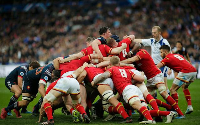 <span>The contest at the Stade de France rumbled on into the 100th minute following a series of reset scrums</span> <span>Credit: BENOIT TESSIER/X02011 </span>