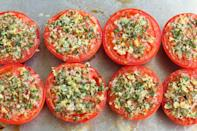 """<p>Showcase those ruby-red garden beauties with this simple tomato recipe. The tomato halves are sprinkled with garlic, parmesan, and fresh herbs for a quick and easy summer side dish.</p><p><a href=""""https://www.thepioneerwoman.com/food-cooking/recipes/a88105/baked-parmesan-herb-tomatoes/"""" rel=""""nofollow noopener"""" target=""""_blank"""" data-ylk=""""slk:Get the recipe."""" class=""""link rapid-noclick-resp""""><strong>Get the recipe. </strong></a></p><p><a class=""""link rapid-noclick-resp"""" href=""""https://go.redirectingat.com?id=74968X1596630&url=https%3A%2F%2Fwww.walmart.com%2Fsearch%2F%3Fquery%3Dmeasuring%2Bspoons&sref=https%3A%2F%2Fwww.thepioneerwoman.com%2Ffood-cooking%2Fmeals-menus%2Fg36500577%2Ftomato-recipes%2F"""" rel=""""nofollow noopener"""" target=""""_blank"""" data-ylk=""""slk:SHOP MEASURING SPOONS"""">SHOP MEASURING SPOONS</a></p>"""