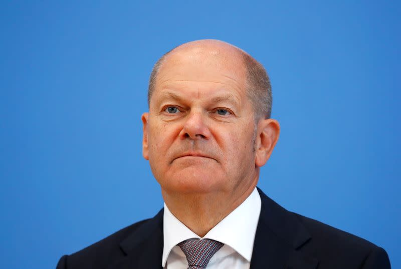 German Finance Minister Olaf Scholz presents the federal government's 2021 draft budget, in Berlin