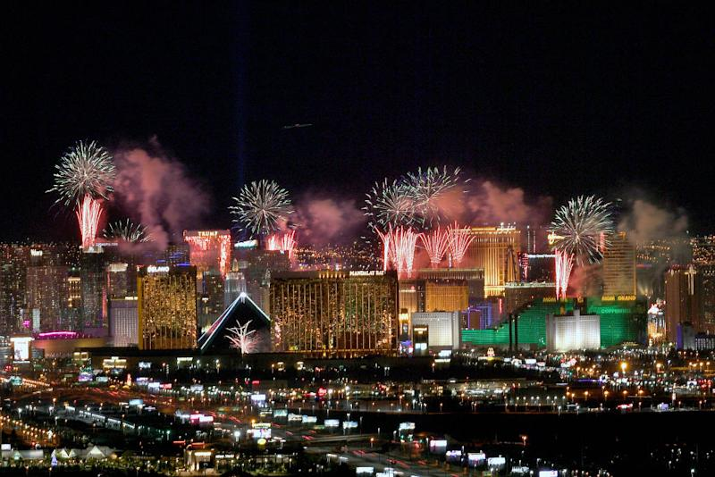 Fireworks illuminate the skyline over the Las Vegas Strip during an eight-minute-long pyrotechnics show put on by Fireworks by Grucci titled