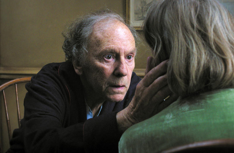 """FILE - This undated file film image released by Sony Pictures Classics shows Jean-Louis Trintignant in a scene from the Austrian film, """"Amour.""""  On Sunday, Dec. 9, 2012, the Los Angeles Film Critics Association announced their picks for movies of 2012.  The French old-age drama """"Amour"""" was chosen as the year's best film.  The 1950s cult drama """"The Master"""" earned three awards: best director for Paul Thomas Anderson, best actor for Joaquin Phoenix and supporting actress for Amy Adams.  """"The Master"""" also was chosen as best-picture runner-up.  """"Amour"""" star Emmanuelle Riva shared the best-actress honor in a tie with Jennifer Lawrence for the lost-soul romance """"Silver Linings Playbook."""" Newcomer Dwight Henry was chosen as supporting actor for the low-budget critical darling """"Beasts of the Southern Wild."""" (AP Photo/Sony Pictures Classics, File)"""