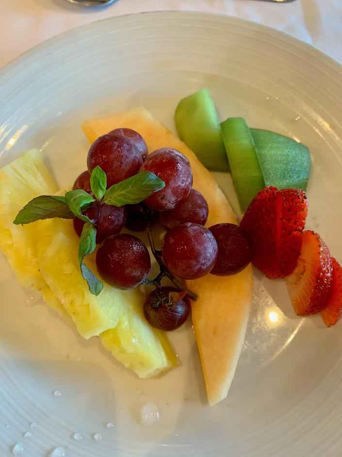 Fruit plate at breakfast on Royal Caribbean's Adventure of the Seas.