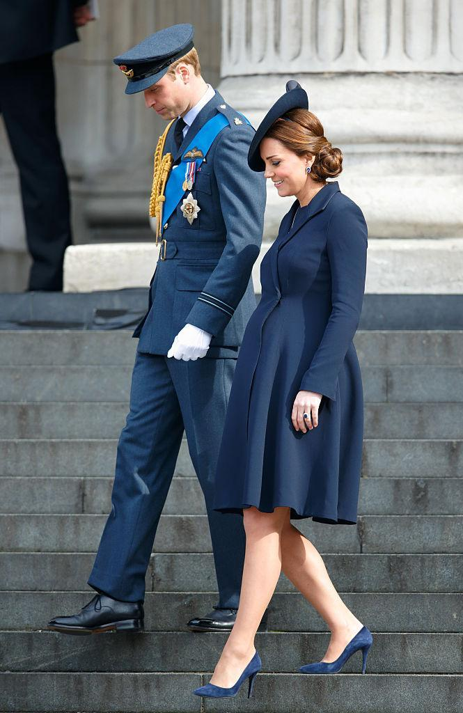 <p>Kate donned a Beullah navy coat to co-ordinate with husband Prince William's look in March 2015. The couple attended the Service of Commemoration for troops who were stationed in Afghanistan. <em>[Photo: Getty]</em> </p>