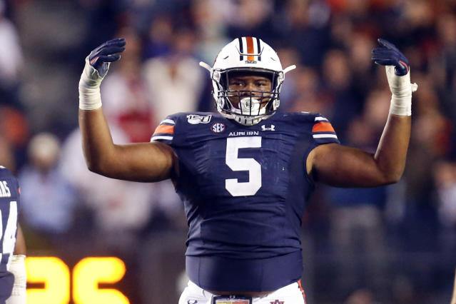 Auburn defensive tackle Derrick Brown should be an early pick in the 2020 NFL draft. (AP Photo/Butch Dill)
