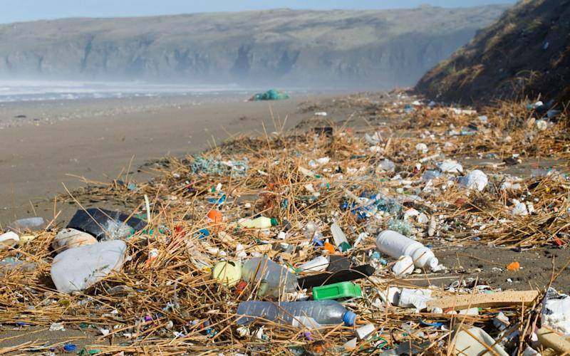The amount of plastic pollution on UK beaches has shot up 10 per cent this year. - Telegraph