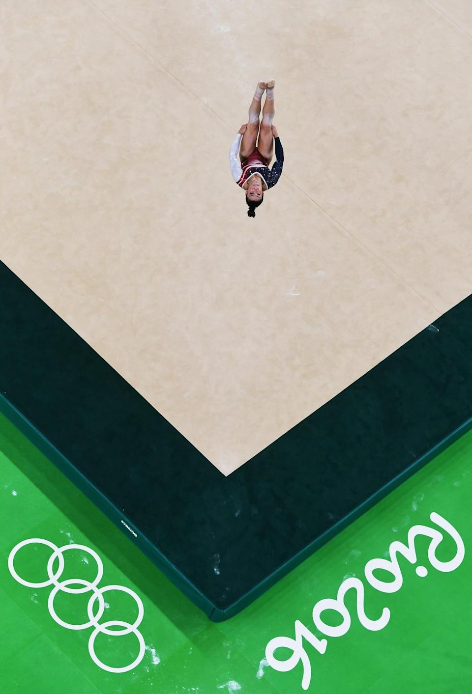 <p>Alexandra Raisman of the United States competes on the floor during the Artistic Gymnastics Women's Team Final on Day 4 of the Rio 2016 Olympic Games at the Rio Olympic Arena on August 9, 2016 in Rio de Janeiro, Brazil. (Photo by Ian Walton/Getty Images) </p>