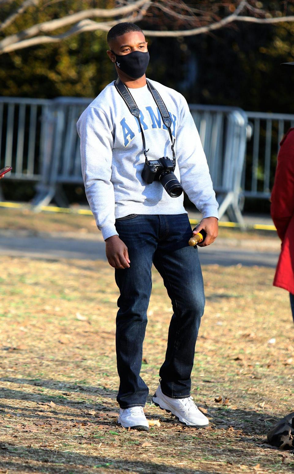 <p>A casual Michael B. Jordan is spotted on the New York City set of his new film on Monday.</p>