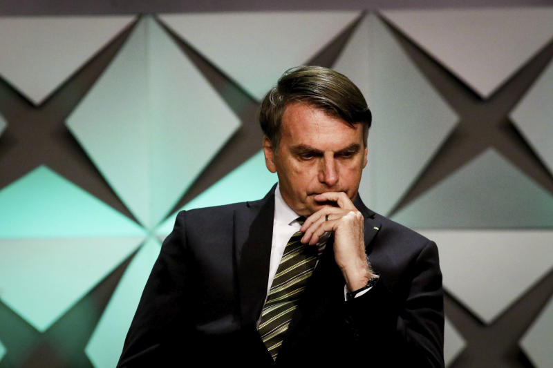 The President of Brazil, Jair Bolsonaro attends the Official Opening of the Brazil 2019 Investment Forum at the WTC Events Center in Sao Paulo, Brazil on October 10, 2019. The event highlights the investment opportunities in strategic sectors of the Brazilian economy, such as infrastructure, energy, agribusiness, technology and innovation. (Photo by Aloisio Mauricio/Fotoarena/Sipa USA)(Sipa via AP Images)